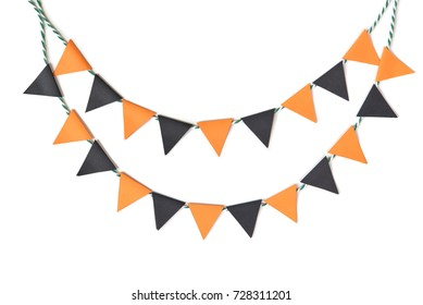 Halloween bunting paper cut on white background - isolated