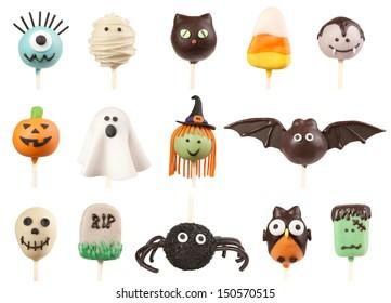 Halloween cake pops isolated on white