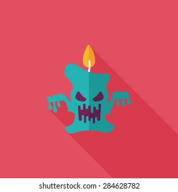 Halloween candle flat icon with long shadow