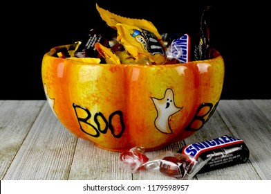 Halloween candy in a decorative ceramic bowl