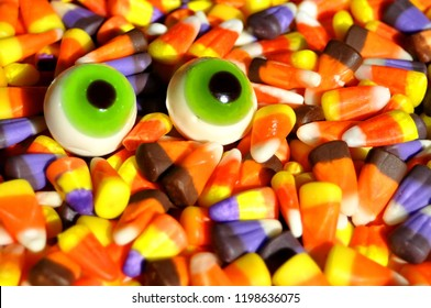 Halloween candy with gummy eyes.