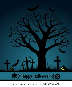 Halloween card with tree. Greeting background. illustration