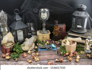 Halloween celebration, Samhain, magic ritual, candles and natural stones, tarot cards, witchcraft, Wicca
