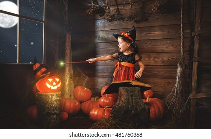 Halloween. child little witch with magic wand, pumpkin Jack  and  magical book of spells in the old hut