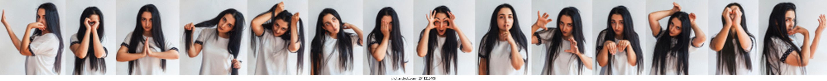 Halloween collage of cute woman in a white t-shirt with different funny facial expressions. Collection of beautiful female portraits making different emotions against a white background