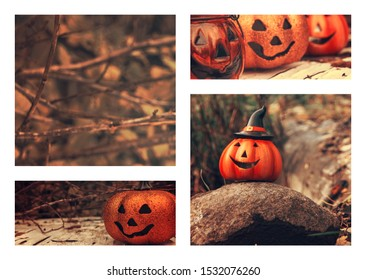 Halloween collage. Funny pumpkins and nature. Fall moodboard. Autumn vibes. Greeting card, party flyer design