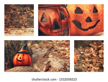 Halloween collage. Funny pumpkins smile. Fall moodboard. Greeting card, party flyer design