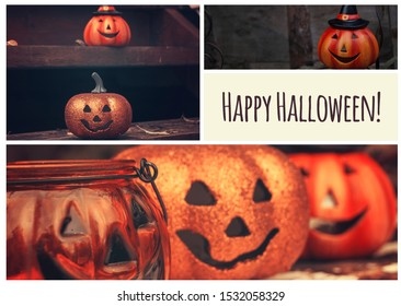 Halloween collage. Funny pumpkins spooky faces. Greeting card, party flyer design
