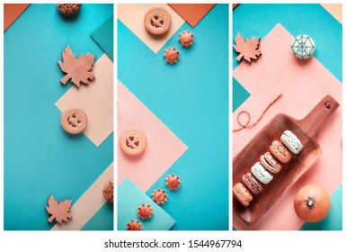Halloween collage in pastel colors, split geometric paper flat lay with pumpkin cookies, macaroons with cobwebs and seasonal decorations