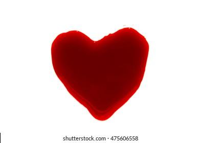 Halloween concept : Blood Heart-shaped splash