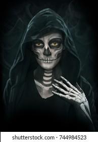 Halloween concept illustration. Makeup Girls image of a skeleton