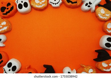 Halloween Concept with pumpkin decorate on space copy orange background