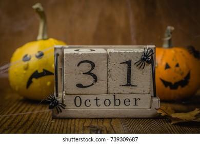 Halloween concept - pumpkins and symbols