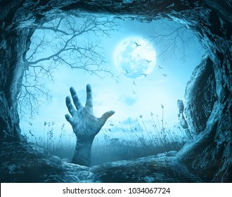 Halloween concept: Scary hand in cave stone on on death tree with creepy cemetery background - 3D illustration