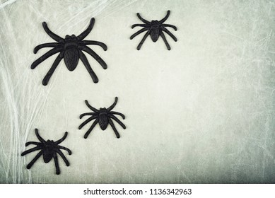 Halloween concept with spiders on gray background