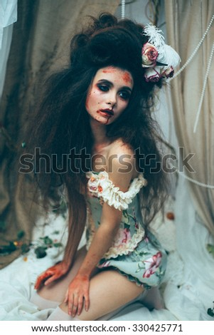 Superior Halloween Costume.Brutal Diva Surrounded By Thickets Of Looking Into The  Camera.Luxury Girl