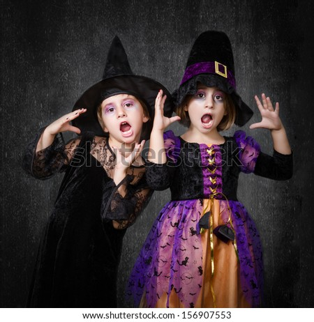 Halloween Costumes On Two Girls Scary Stock Photo Edit Now