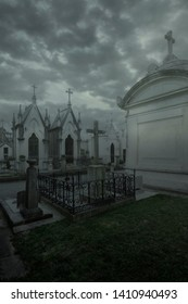 Halloween dark and scary european cemetery background