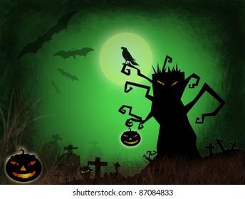 Halloween dark scenery with naked tree, pumpkins, bat ,crow and old graveyard.