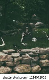 A Halloween Decor outside.