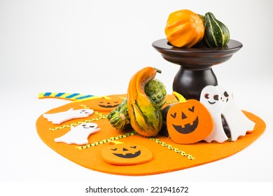 Halloween decoration isolated on white seamless