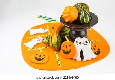 Halloween decoration on pumpkin tablecloth