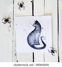 Halloween decoration photo with hand made greeting cards. Halloween preparations. Greeting cards drawing