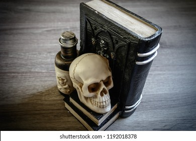 Halloween decoration spell book curses skull