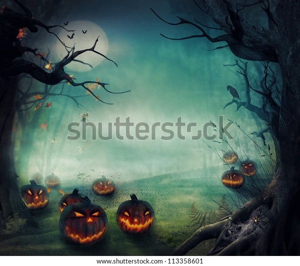Halloween design - Forest pumpkins. Horror background with autumn valley with woods, spooky tree, pumpkins and spider web. Space for your Halloween holiday text.