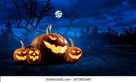 Diseño de Halloween con calabazas. Medios mixtos