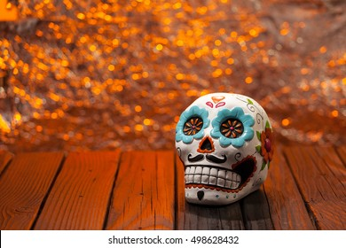 Halloween Dia De Los Muertos Celebration Background With Sugar Skull. Wide Shot Selective Focus With Copy Space.
