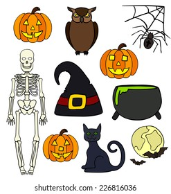 Halloween elements drawings isolated