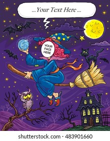 Halloween Flying Witch with Black Cat, Owl and Bats - Face in Hole Funny Cartoon  Template with Bubble Speech for Your Custom Text - Create your funny photos - Put you face on another body