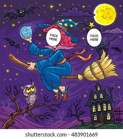 Halloween Flying Witch with Black Cat, Owl and Bats - Face in Hole Funny Cartoon  Template with Holes for Two Characters - Create your funny photos - Put you face on another body