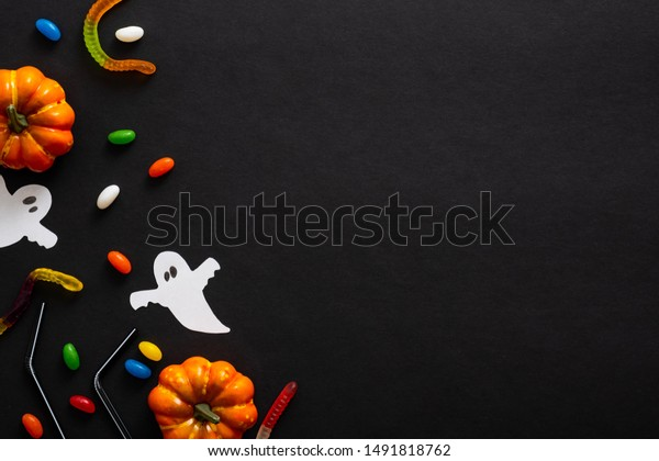 Halloween Frame Pumpkins Ghosts Candy On Stock Photo Edit