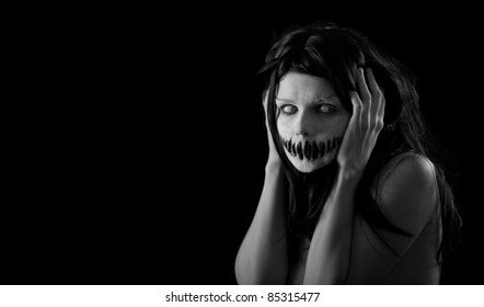 Halloween girl with scary mouth, extreme body-art