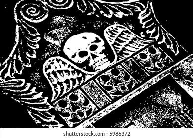 halloween grunge skull wings gray tombstone (raster)