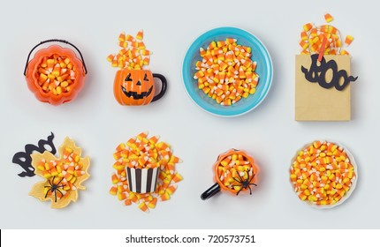 Halloween holiday candy corn collection for mock up template design. View from above. Flat lay