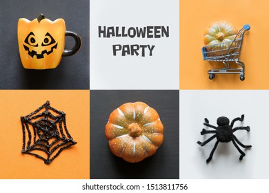 Halloween holiday collage of pumpkin, web, spider, cup, decorations. Top view. Flat lay. View from above. Flat lay. Shopping and sale. Happy halloween concept.