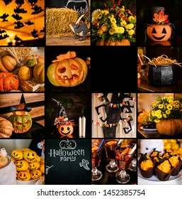 Halloween holiday collage. Pumpkins, spiders witch bats treats