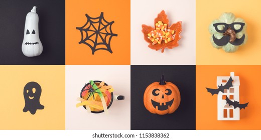 Halloween holiday concept with jack o lantern pumpkin and decorations. View from above. Flat lay