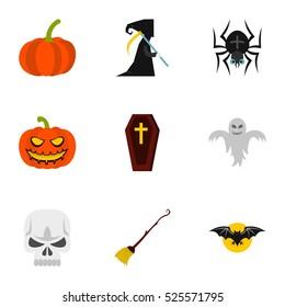 Halloween holiday icons set. Flat illustration of 9 halloween holiday  icons for web