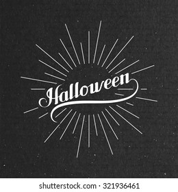 Halloween. Holiday Illustration. Lettering Composition With Light Rays