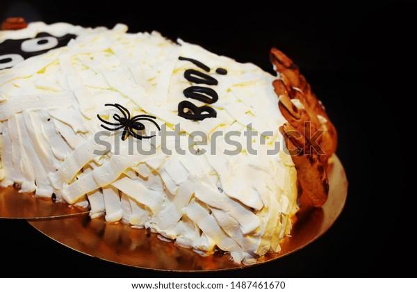 Enjoyable Halloween Homemade Scary Cake Biscuit Mummy Stock Photo Edit Now Funny Birthday Cards Online Inifofree Goldxyz