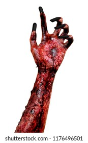Halloween horror concept. Creepy hand of a female zombie, isolated on white background