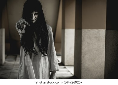 Halloween or horror concept, Women dressed in costume cosplay horror zombies or ghost on Halloween festival.