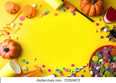 halloween horror party holiday season greeting with set prop on background, pumpkin, colorful decoration toy, trick or treat, spooky night