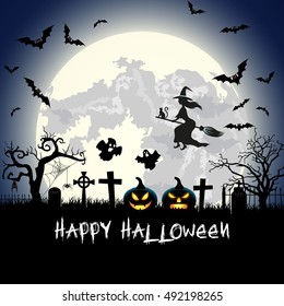 Halloween illustration with pumpkin, ghost, tomb and bats on full moon background. illustration Raster version