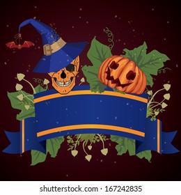 Halloween illustration with skull and pumpkin