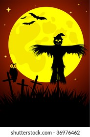 Halloween illustration with straw man